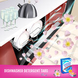 Rose fragrance dishwasher detergent tabs ads. Vector realistic Illustration with dishwasher in kitchen counter and detergent packa Stock Images