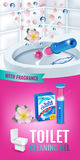 Rose fragrance toilet cleaner gel disc ads. Vector realistic Illustration with toilet bowl gel dispenser and gel discs. Vertical b Stock Image