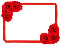 Rose frame. Red rose and ribbon frame on a white background Royalty Free Stock Photography
