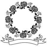 Rose frame and ribbon with bird. Stock Image