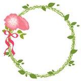 Rose Frame Ribbon Card Wedding romantikernatur Arkivfoton