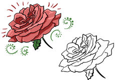 Rose 003. Frames with roses for titles, decor, coloring for children Royalty Free Stock Photos