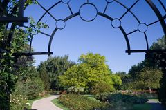 Rose Garden. The entrance to the rose garden of the Montreal Botanical Gardens royalty free stock photo