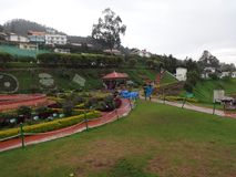 Rose garden awesome view at one side with city view ooty,india. This snap is from botanical rose garden ooty, india. Awesome view of all flowers that you may Stock Photography