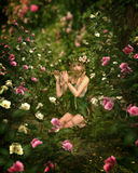 Rose Garden, 3d CG. In a rose garden a girl is playing the flute, 3d computer graphics Royalty Free Stock Photography
