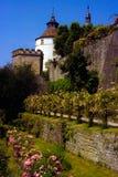 Rose Garden des turreted Schlosses Lizenzfreie Stockfotografie