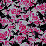 Rose garden at night, seamless pattern Royalty Free Stock Photography