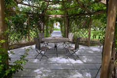 Rose garden. Pergola and a rose garden in the country park Stock Photos