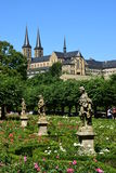 Rose garden of the residence with the MICHELSBERG monastery in Bamberg, Germany Royalty Free Stock Photo