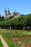 Rose garden of the residence with the MICHELSBERG monastery in Bamberg, Germany Royalty Free Stock Images