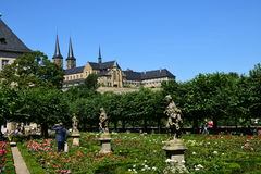 Rose garden of the residence with the MICHELSBERG monastery in Bamberg, Germany Stock Photography