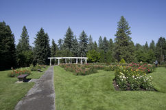 Rose garden Spokane. Rose garden in traditional style with pavilion Stock Photo