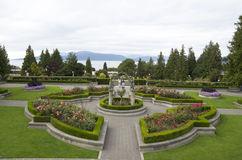 Rose garden. Typical rose garden with symmetrical designs in UBC campus, Vancouver, Canada Stock Photo