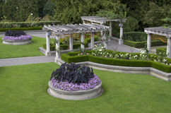 Rose garden. Typical rose garden with symmetrical designs in UBC campus, Vancouver, Canada Royalty Free Stock Images