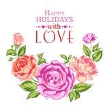 Rose garland in holiday. vector illustration