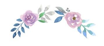Rose Garland Leaf Pink Roses Spring för krans för vattenfärgblommabåge purpurfärgad sommar Arkivbild