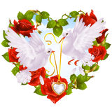 Rose garland in the shape of heart and couple dove. Vector rose garland in the shape of heart and couple dove Royalty Free Stock Photo