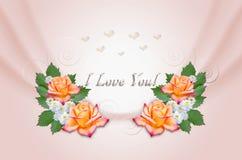 Rose gialle ed aster su fondo rosa ondulato Fotografia Stock