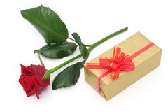 Rose and gift Royalty Free Stock Photo