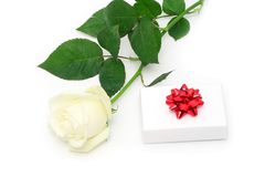 Rose and gift Royalty Free Stock Photos