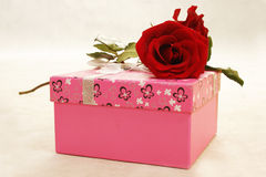 Rose and gift box Royalty Free Stock Image