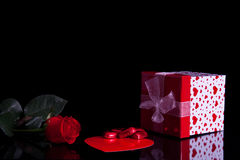 Rose, gift box and chocolate Royalty Free Stock Images