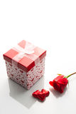 Rose, gift box and chocolate Stock Image