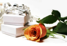 Rose And Gift Boxes Royalty Free Stock Images