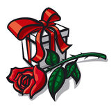 Rose and gift Stock Image