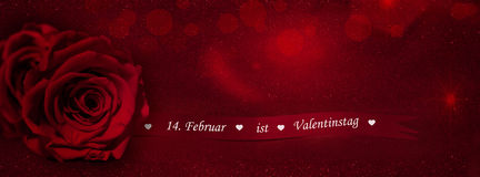 Rose with gift ribbon (February 14 is Valentine's Da. Red rose with gift ribbon German text (February 14 is Valentine's Day Stock Image