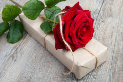 A rose and a gift for Valentine's Day Stock Photography