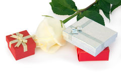 Rose and gifts Royalty Free Stock Photos