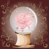 Rose in glass ball. A pink rose in glass ball with standee Royalty Free Stock Images