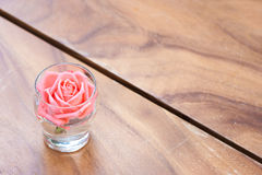 Rose in a glass decorate on the table. Stock Image