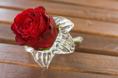 red rose in a glass vase on wood Stock Photo