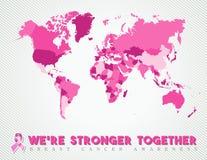 Rose global de carte mondiale de cancer du sein uni illustration libre de droits