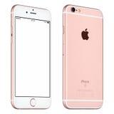 Rose Gold Apple-het iPhone6s model roteerde lichtjes vooraanzicht Royalty-vrije Stock Foto's