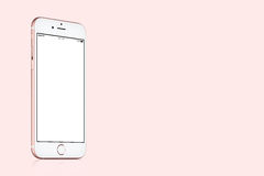 Rose Gold Apple iPhone 7 mockup on solid pink background with copy space. Varna, Bulgaria - March 10, 2016: Rose Gold Apple iPhone 7 mockup with white blank royalty free stock photos