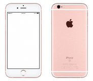 Rose Gold Apple iPhone 6s mockup front view with white screen and back side with Apple Inc logo. Varna, Bulgaria - October 24, 2015: Front view of Rose Gold Stock Images