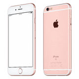 Rose Gold Apple iPhone 6S mockup slightly clockwise rotated Royalty Free Stock Photo
