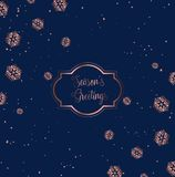 Rose gold and blue Christmas card design stock illustration