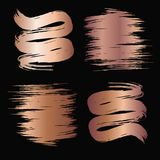 Rose brush strokes. Rose gold brush stroke. Hand drawn abstract texture. Vector illustration Stock Photos