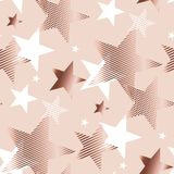 Rose gold color abstract geometry star. Vector illustration.  tender elegant celebration style seamless pattern design Royalty Free Stock Image