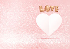 Rose Gold 3d förälskelse- och vitbokhjärta formar att sväva i pastell vektor illustrationer