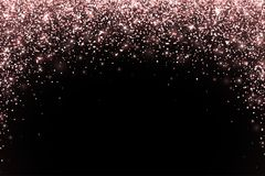 Rose gold falling particles on black background, arch form. Vector. Illustration Stock Photo