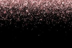 Rose gold falling particles on black background. Vector. Illustration Stock Images