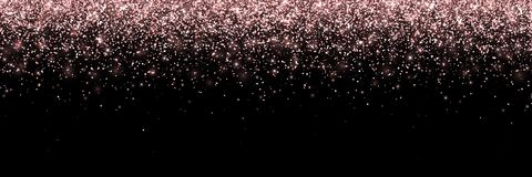 Rose gold falling particles on black background, wide banner. Vector. Illustration Royalty Free Stock Photo