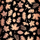 Rose Gold foil autumn leaf silhouettes seamless vector background. Copper shiny abstract fall leaves shapes on black background. Elegant pattern for digital royalty free illustration