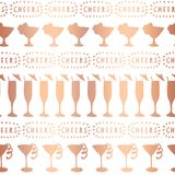 Rose gold foil cocktail glass vector pattern royalty free illustration