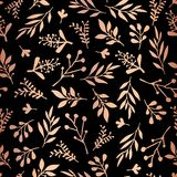 Rose Gold foil florals on black seamless vector background. Copper abstract wildflower grass shapes background. Elegant holiday. Pattern for scrap booking royalty free illustration
